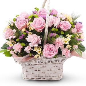 핑크빛 꽃바구니