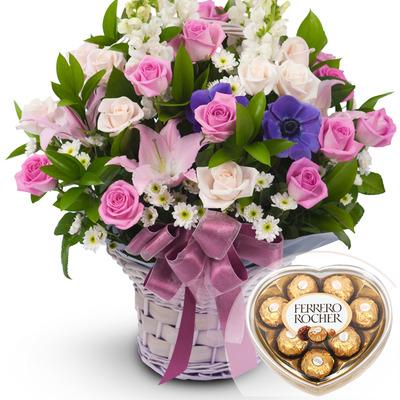 발렌타인 혼합 2호 꽃바구니 + 페레레로쉐하트 초콜릿