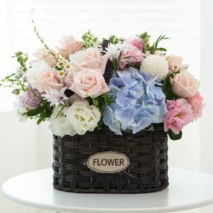 수국장미 꽃바구니