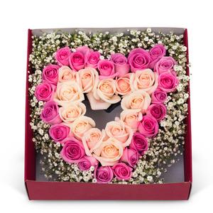 핑크하트안개 꽃박스