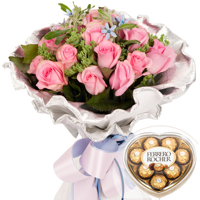 발렌타인 분홍1호 꽃다발 + 페레레로쉐하트 초콜릿